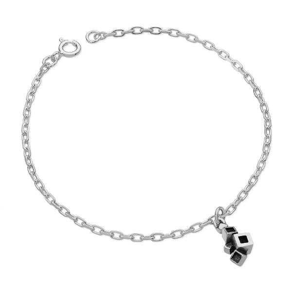 Karen Duncan Jewellery - Blocks Blackened Charm Bracelet