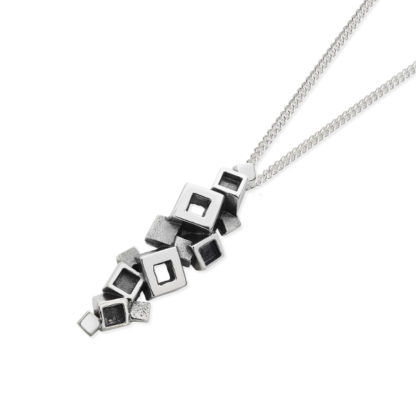 Karen Duncan Jewellery - Blocks Blackened Pendant on Chain