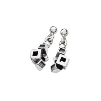 Karen Duncan Jewellery - Blocks Blackened Small Drop Earrings