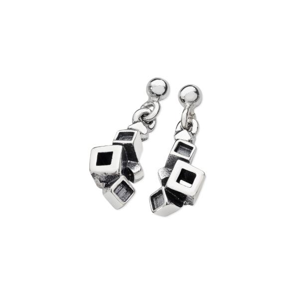 Karen Duncan Jewellery - Blocks Blackened Small Drop Earrings
