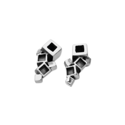 Karen Duncan Jewellery - Blocks Small Blackened Stud Earrings