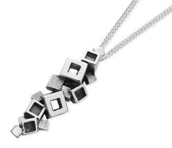 Karen Duncan Jewellery Blocks Blackened Silver Pendant on Chain