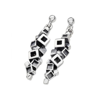 Karen Duncan Jewellery - Blocks Blackened Large Drop Earrings