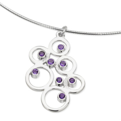 Karen Duncan Jewellery - Bubbles Large Amethyst Pendant on Wire