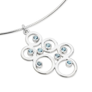 Karen Duncan Jewellery - Bubbles Large Blue Topaz Pendant on Wire
