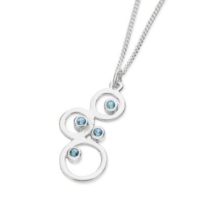 Karen Duncan Jewellery - Bubbles Small Blue Topaz Pendant on Chain