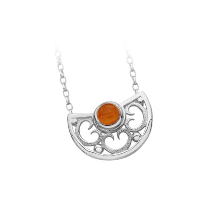 Karen Duncan Jewellery - Lamb Holm Half Round Necklet With Orange Carnelian