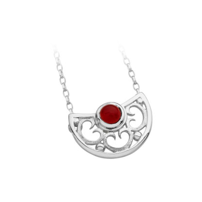 Karen Duncan Jewellery - Lamb Holm Half Round Necklet With Red Carnelian