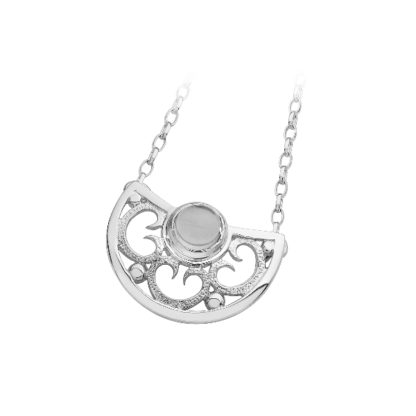 Karen Duncan Jewellery - Lamb Holm Half Round Necklet With Light Blue Topaz