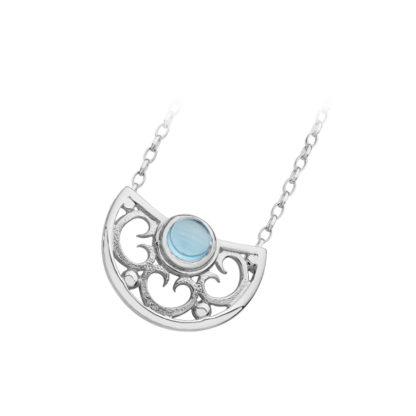 Karen Duncan Jewellery - Lamb Holm Half Round Necklet With Sky Blue Topaz