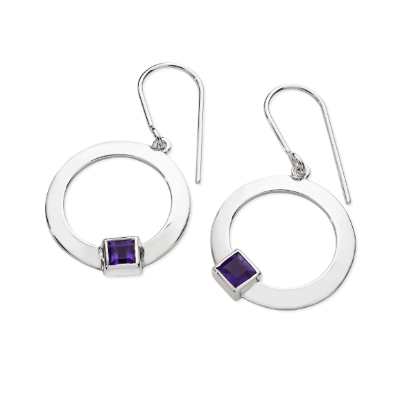 Karen Duncan Jewellery - Solar Amethyst Drop Earrings on Hook Wires