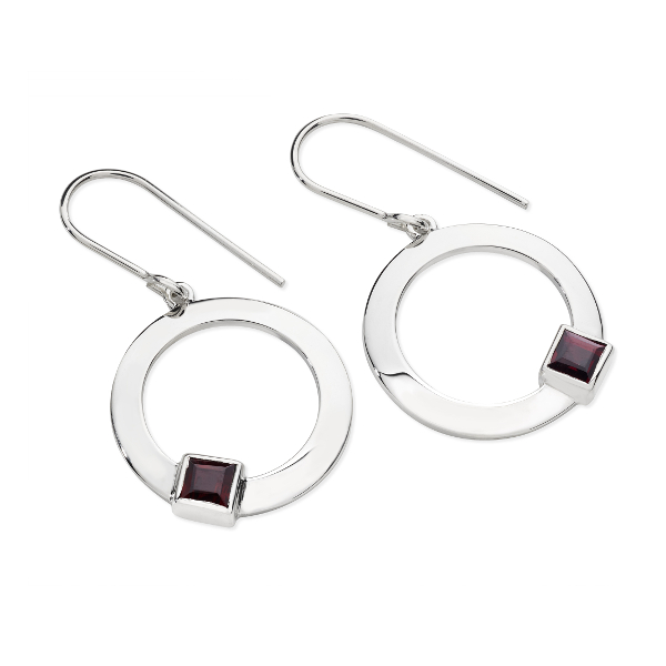 Karen Duncan Jewellery - Solar Garnet Drop Earrings on Hook Wires