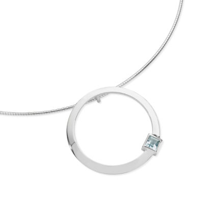 Karen Duncan Jewellery - Solar Large Blue Topaz Pendant on Wire