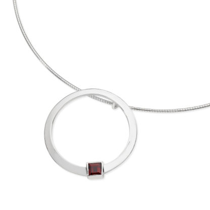 Karen Duncan Jewellery - Solar Large Garnet Pendant on Wire