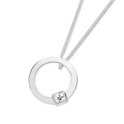 Karen Duncan Jewellery - Solar Small Cubic Zirconia Pendant on Chain