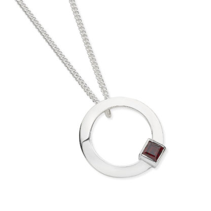 Karen Duncan Jewellery - Solar Small Garnet Pendant on Chain