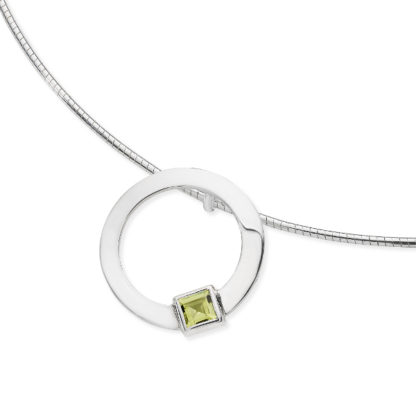 Karen Duncan Jewellery - Solar Small Peridot Pendant on Wire