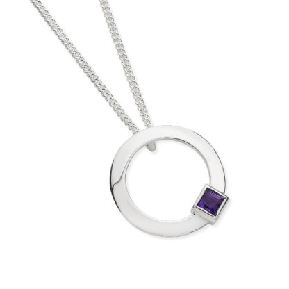 Karen Duncan Jewellery - Solar Small Amethyst Pendant on Chain