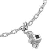 Karen Duncan Jewellery Blocks Plain Silver Charm Bracelet Detail