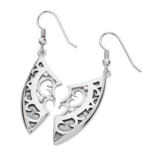 Karen Duncan Jewellery - Demi-Shield Large Drop Earrings on Hooks