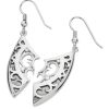 Karen Duncan Jewellery Demi-Shield Large Silver Drop Earrings on Hooks