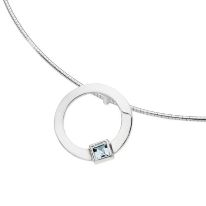 Karen Duncan Jewellery - Solar Small Blue Topaz Pendant on Wire