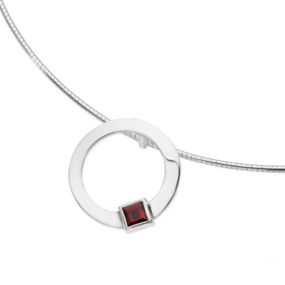 Karen Duncan Jewellery - Solar Small Garnet Pendant on Wire