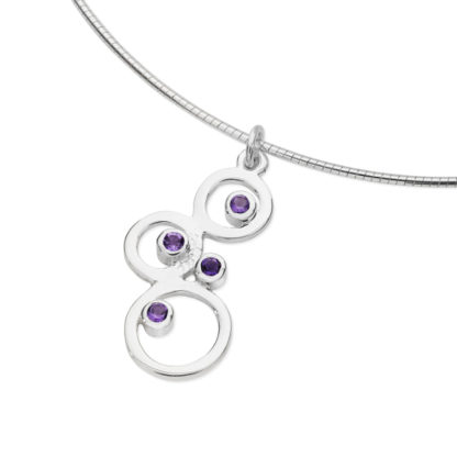 Karen Duncan Jewellery - Bubbles Small Amethyst Pendant on Wire