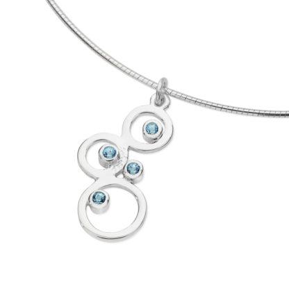 Karen Duncan Jewellery - Bubbles Small Blue Topaz Pendant on Wire