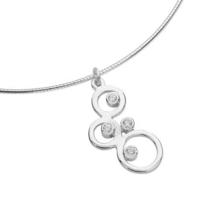Karen Duncan Jewellery - Bubbles Small Cubic Zirconia Pendant on Wire