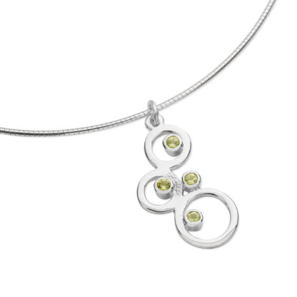 Karen Duncan Jewellery - Bubbles Small Peridot Pendant on Wire