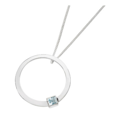 Karen Duncan Jewellery - Solar Large Blue Topaz Pendant on Chain
