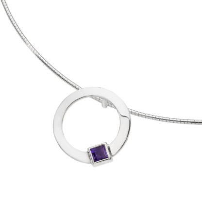 Karen Duncan Jewellery - Solar Small Amethyst Pendant on Wire