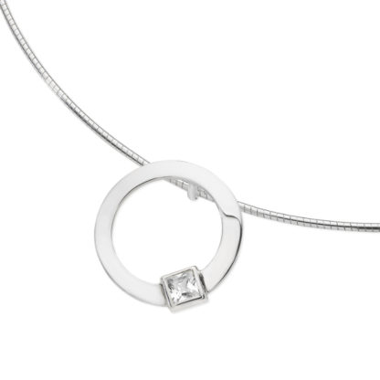 Karen Duncan Jewellery - Solar Small Cubic Zirconia Pendant on Wire
