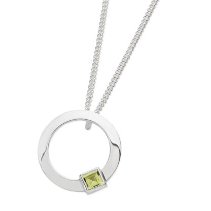 Karen Duncan Jewellery - Solar Small Peridot Pendant on Chain