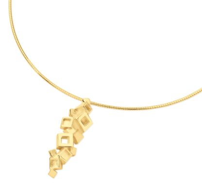 Gold blocks necklace